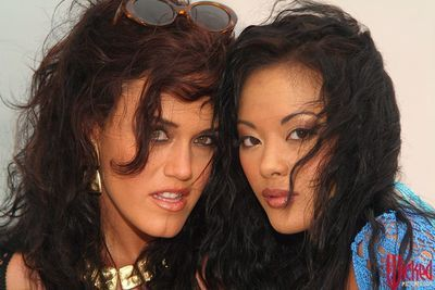 Kinky lesbian Kaylani Lei with girlfriends are in the open sea having the nasty licking