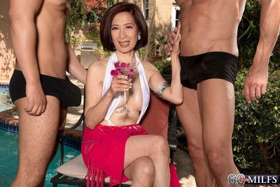 Two cocks for an asian wifes asshole