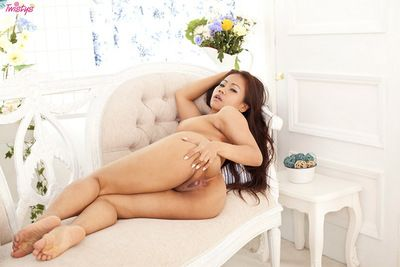 Brunette asian loves stimulating her hairy pussy during amazing solo