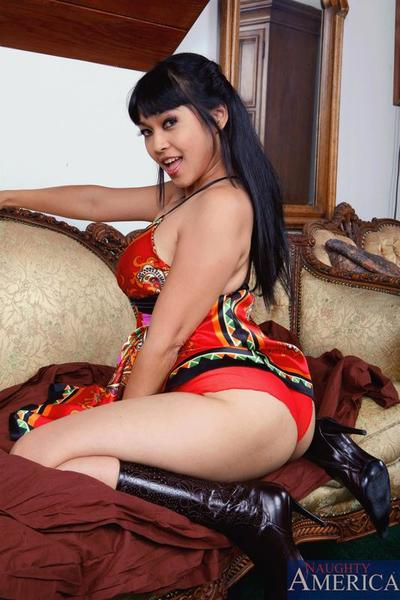Ethnic babe Mika Tan wraps her lips around cock and feasts her pussy on it