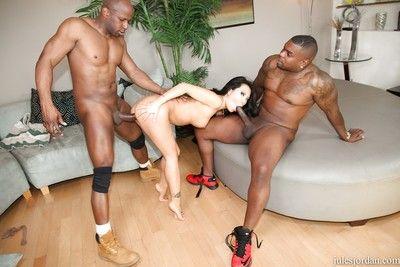 Brunette Asian Asa Akira getsrough double penetration in interracial 3some