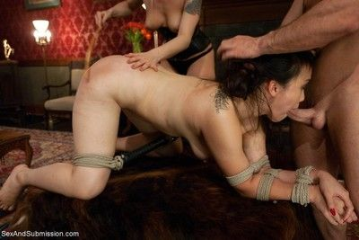 Sexy asian bound suspended punished and fucked by wife trainers