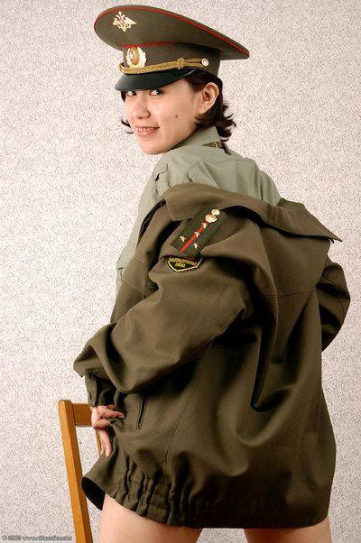Korean amateur Elena stripping off military uniform to pose nude