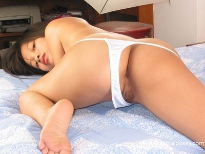 Big tits Asian brunette reveals her tight asshole in sexy panties