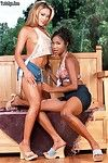Black Monique and her tasty GF fondling each other with their tongues and wet lips.