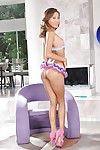 Asian babe Alina Li posing in high heels and frilly panty set