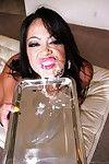 Busty Asian girl Mia Lelani deep throat gagging the rod and eating its fresh semen