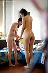 Mixed race lesbos Lulu and Janee dressing hairy cunts after lesbian sex