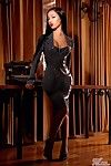 Elegant oriental babe Jade Vixen with big tits and long legs strips put of her narrow latex costume