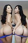 Hot asian pornstars Tia Ling & Asa Akira slipping off their lingeries