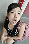 Asian teen Mana Kikuchi gives head and gets mouth full of creamy jizz