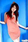 Petite asian babe Risa Misaki has no lingerie under her fancy dress