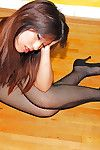 Asian amateur Makino striking solo poses in crotchless bodystocking