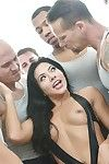 Asian whore Morgan Lee sucks more than one dick and drowns in cum