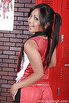 Crazy Asian schoolgirl Lana Violet spreading tiny ass on camera