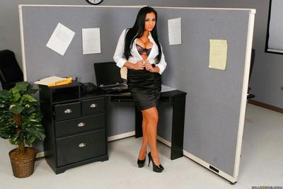Boobsy black haired office chick Audrey Bitoni benefits from nude and takes a bawdy cleft hammering