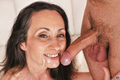 Undressed grandmother Milly sucking off dick for mouthful of sperm