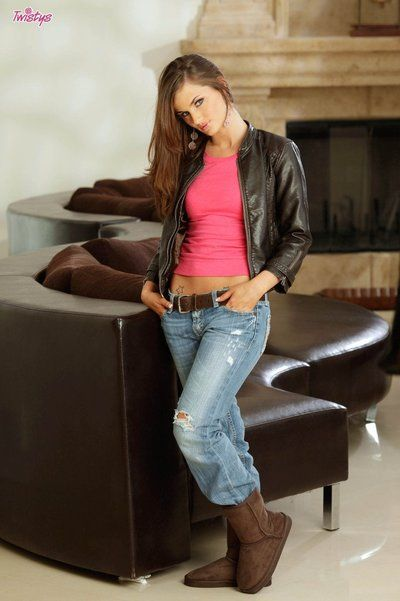 Lily Carter strips not featured her jeans and pink underware then twists and opens her love-cage