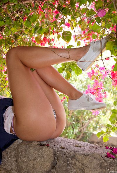 Babe with colossal tits flashes her sexy pantyhose in outdoor deviant solo scene
