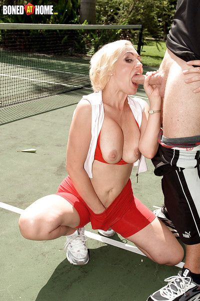 Older young blonde Raquel Sieb giving BJ outdoors for cumshot on face