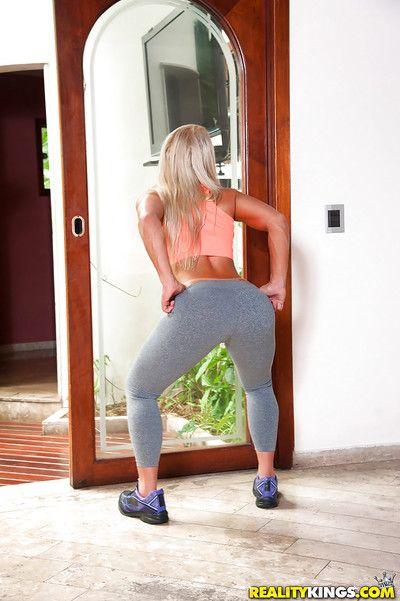Latina cutie Lorena Fire shoots big waste from yoga pants before masturbating