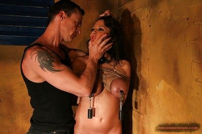Fixed babe with large tits Alison Star gets tortured and bonked