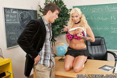 Big jugged blond schoolgirl Lylith Lavey seduces a fellow and enjoys hard sex