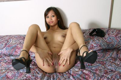Asian principal timer Elle slipping special ebon lace underclothes to pose nude