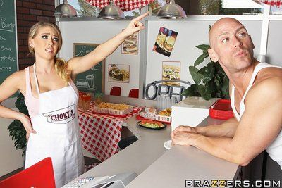 Biggest titted waitress Kagney Linn Karter gets her drenched vagina pounded by concupiscent as hell man