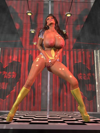 Bigtitted 3d stripper baring her goodies dancing by the pole