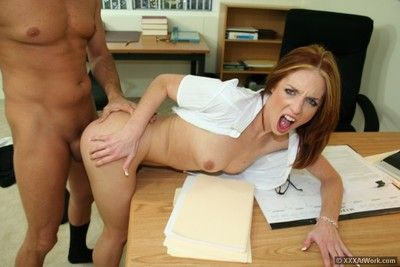 Tall office lass Riley Shy with yearn legs and petite tits obtains undressed and obtains gangbanged