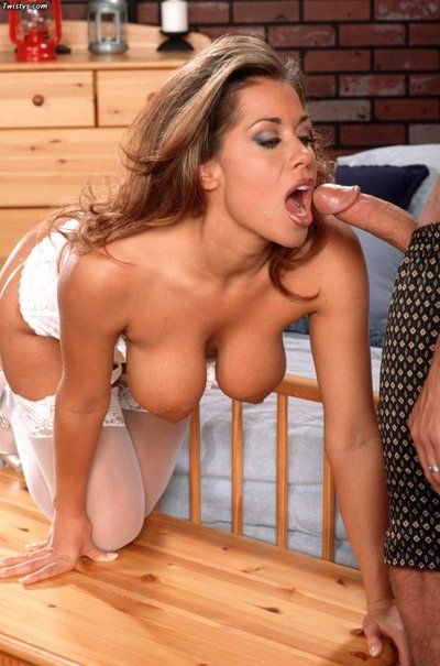 Tanned breasty bimbo Charlie does a deep gorge job followed by raunchy titty and pussyfuck.