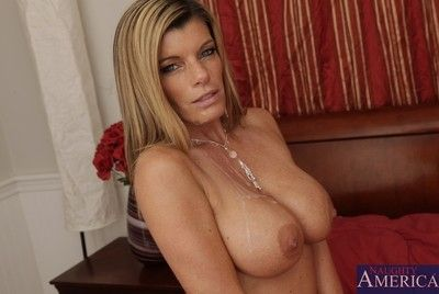 Milf with enormous milk cans Kristal Summers attacks schlong with the fanatical face hole and tight muff
