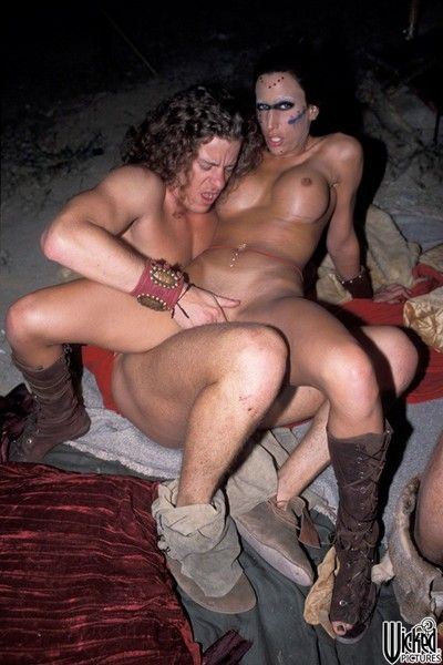 Furious warriors are going in the titsy playgirl Ashley Long in all possible holes