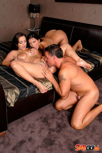 Fabulous two men plus one female porn deed with two fascinating lasses