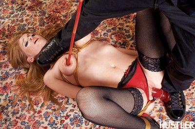 Restrained pornstar Faye Reagan undergoing tits bondage and arse drubbing