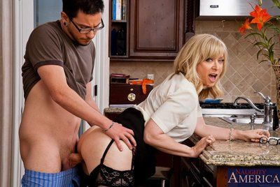 Excited milf Nina Hartley getting the best dessert in the pics of the constricted piston