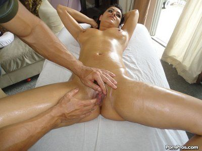 Sexy bodied Charley Chase purchases her bazookas rubbed and her pussy penetrated on massage table