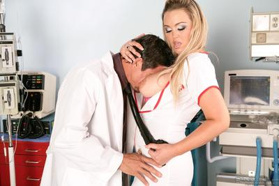 The bosomy nurse Abbey Brooks is deeply swallowing and hardly fucking man's shlong