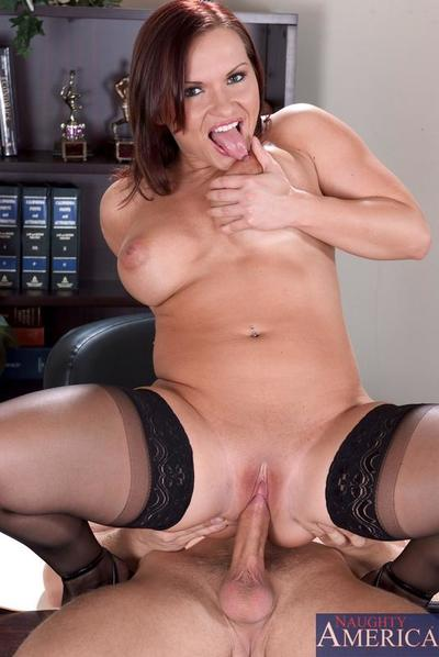 Brunette cunt in stockings Katja Kassin greedily sucks and rides a wang in the office
