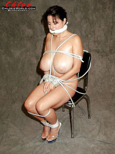 Obese MILF Chloe Vevrier displays juggs before bound and gagged with rope