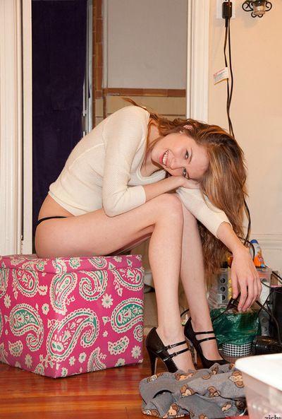 Juvenile blonde Samantha Kaylee enjopys teasing by showing her black tube