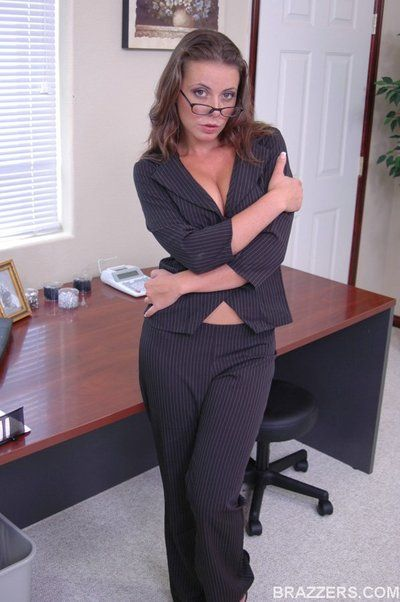 Curvy dish Penny Flame in fashionable black suit gets wildly fucked in group in the office