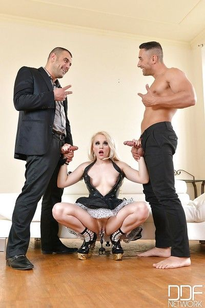 Stunning blond girl Lola Taylor jerking off two dongs straight away