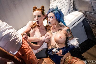 Glamour milfs Anna and Katy invite a sticky stud to a hardcore cosplay sex act