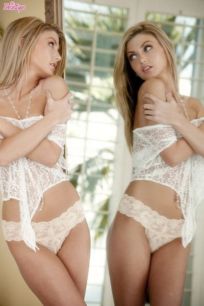 Teen blonde with slim forms enjoys undulating and posing naughty on camera