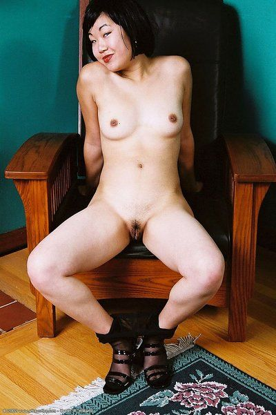 Amateur Korean illustration Junko posing topless in brown pantyhose