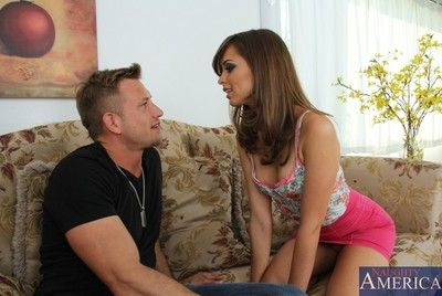Lusty girl Riley Reid swings on the pecker and swallows it and licks the balls until it explodes