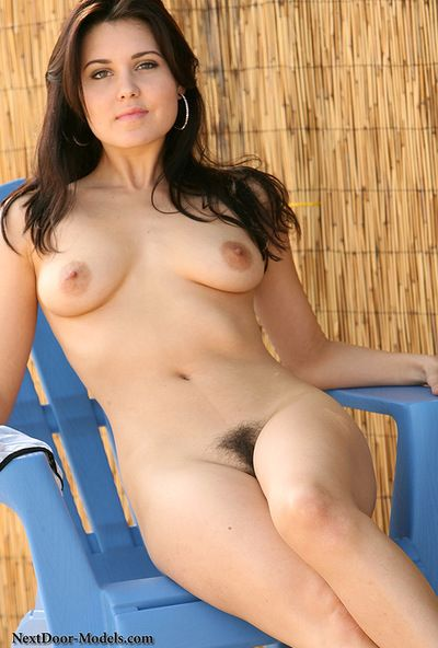 Young brunette hair Bailey Devonish amazes with her round ass and hirsute cunt