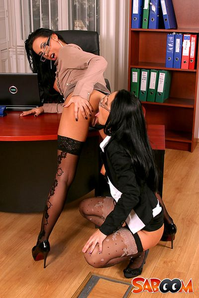 Awesome brunettes in a staggering office girl-on-girl show